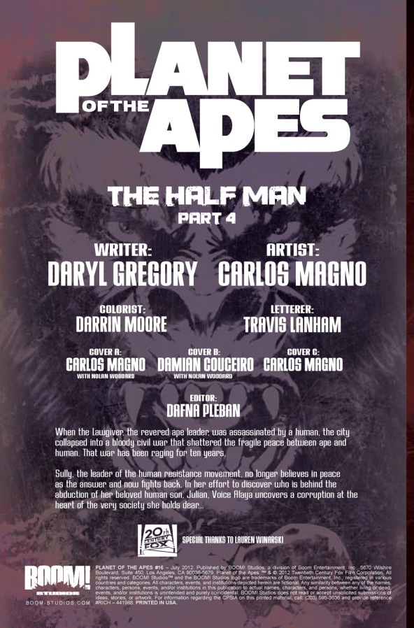 Planet of the Apes #16 Credits