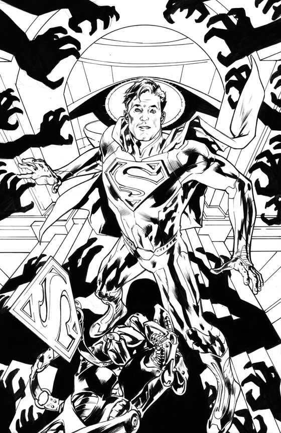 ACTION COMICS #13 BLACK AND WHITE COVER