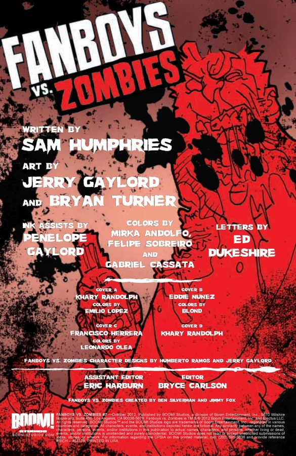 Fanboys vs Zombies #7 Credits