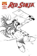 RED SONJA #7 REEDER BLACK AND WHITE COVER