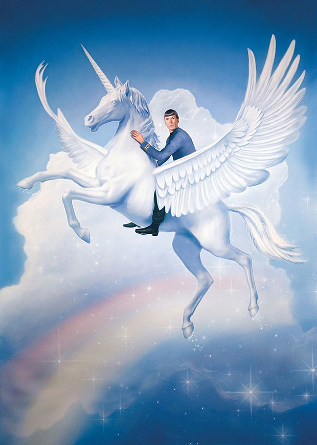 Spock Riding A Flying Unicorn Over A Rainbow By Tim O'Brien