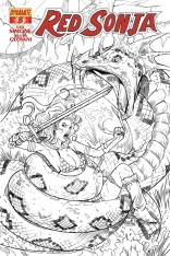 RED SONJA #8 RUFFINO BLACK AND WHITE COVER