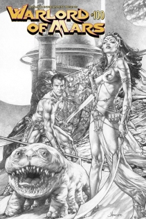 WARLORD OF MARS #100 ANACLETO BLACK AND WHITE COVER