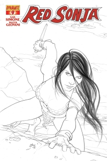RED SONJA #9 FRISON BLACK AND WHITE COVER