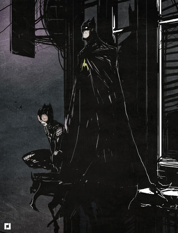 Batman & Catwoman by Jebedaï