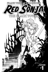 RED SONJA THE BLACK TOWER #1 BLACK AND WHITE COVER