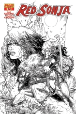 RED SONJA #12 CHIN BLACK AND WHITE COVER