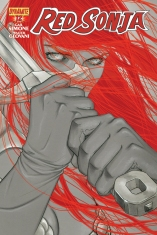 RED SONJA #12 FRISON BLACK AND WHITE COVER