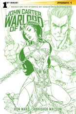 JOHN CARTER WARLORD OF MARS #1 CAMPBELL GREEN AND WHITE COVER